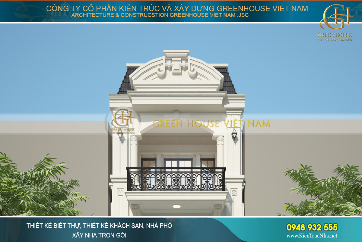 Hệ mái mansard cùng bức phù điêu trên mái nhà là điểm nhấn hoàn mỹ của nhà phố tân cổ điển