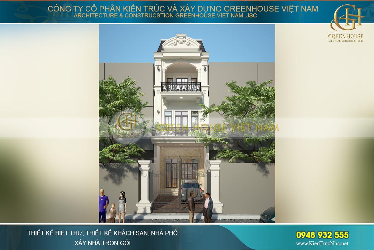 Phối cảnh mặt tiền của mẫu thiết kế nhà ống 3 tầng tân cổ điển tại Cần Thơ