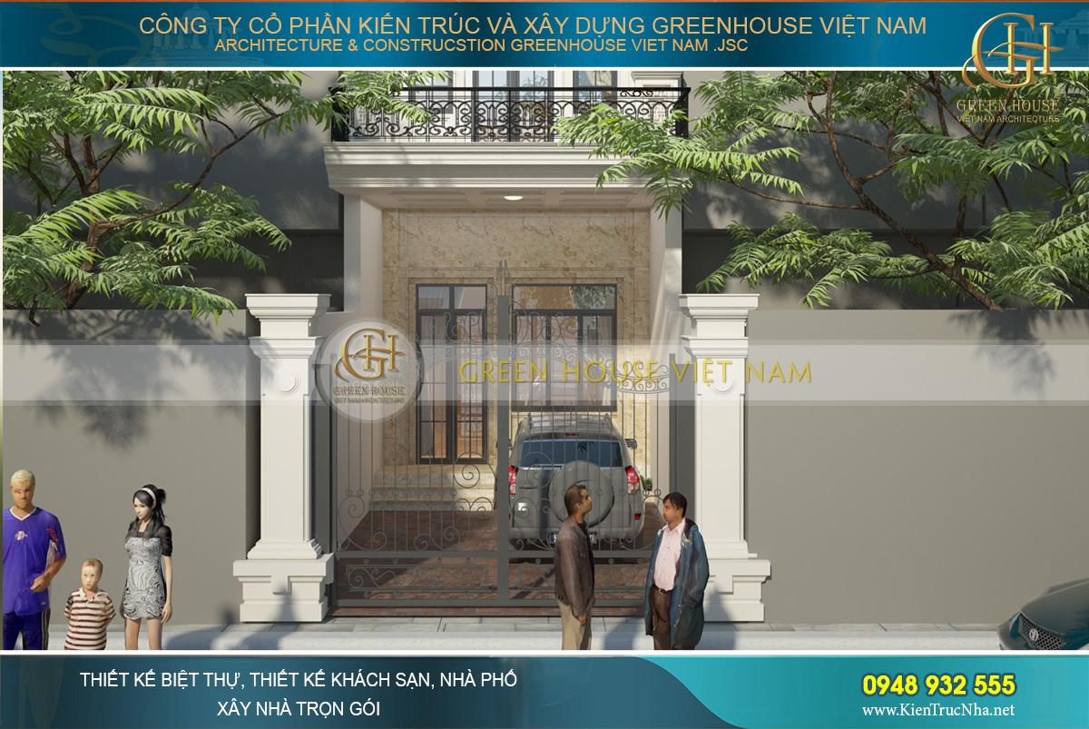 Tầng 1 sở hữu 1 khoảng sân rộng lớn phía trước tạo sự thông thoáng cho nhà phố