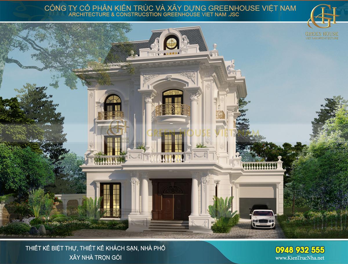 Phối cảnh mặt tiền biệt thự tân cổ điển 3 tầng đẹp sang trọng và tinh tế