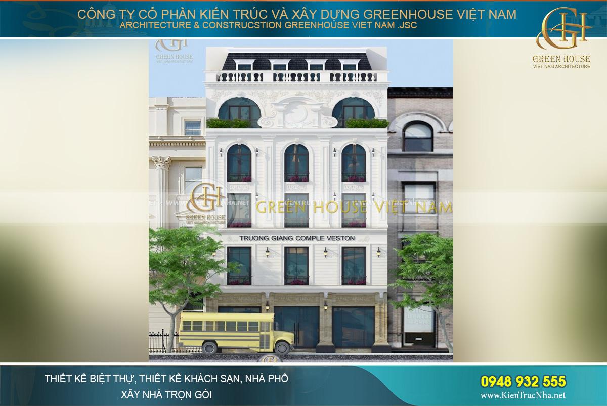 Tòa nhà Trường Giang Comple Veston là nơi kinh doanh thời trang cao cấp, đồng thời cũng làm nơi ở, sinh hoạt cho cả gia đình
