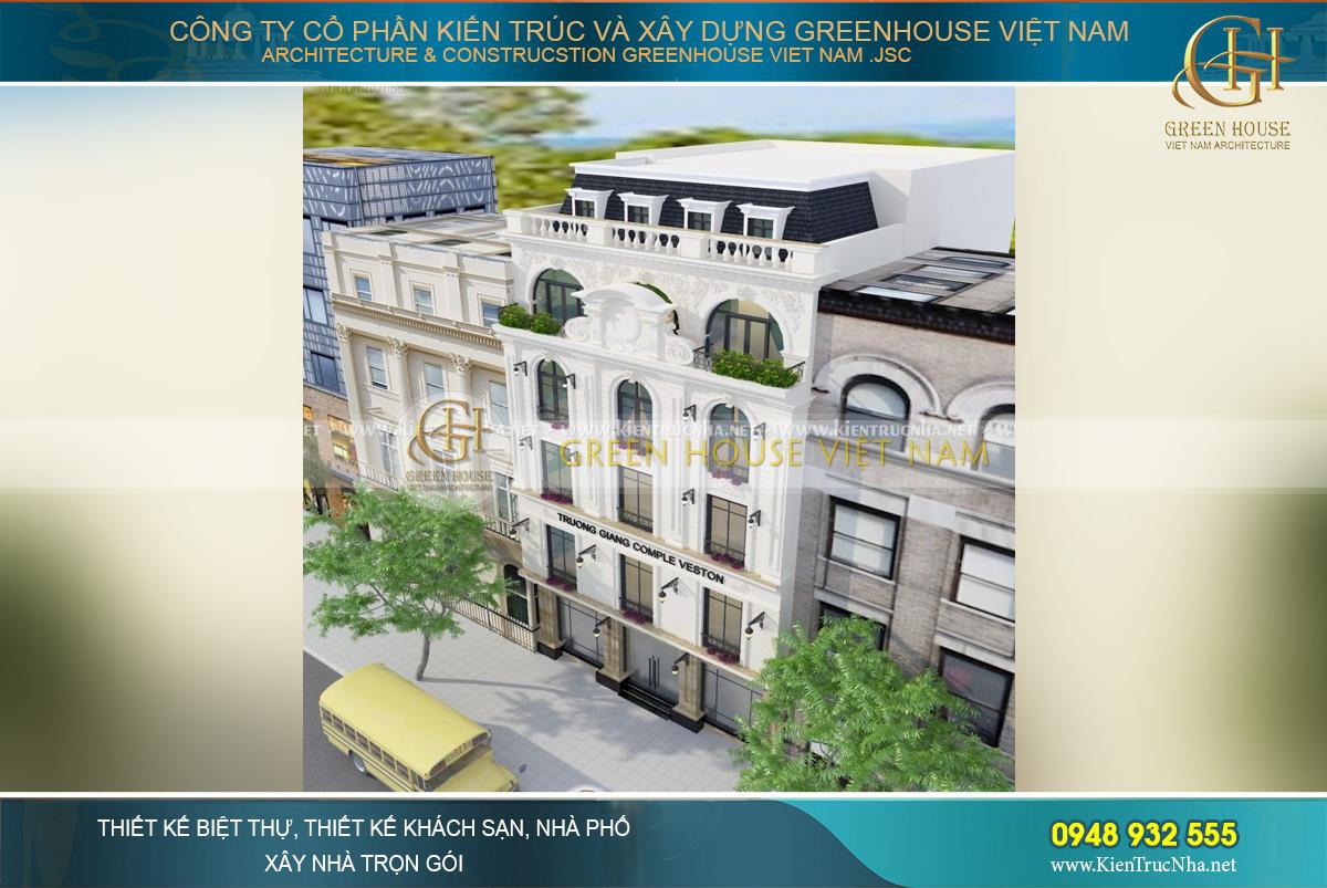 Nhìn từ trên cao, ngôi biệt thự đầy nổi bật, cuốn hút và đẳng cấp vươn xa so với các công trình nhà phố thông thường xung quanh