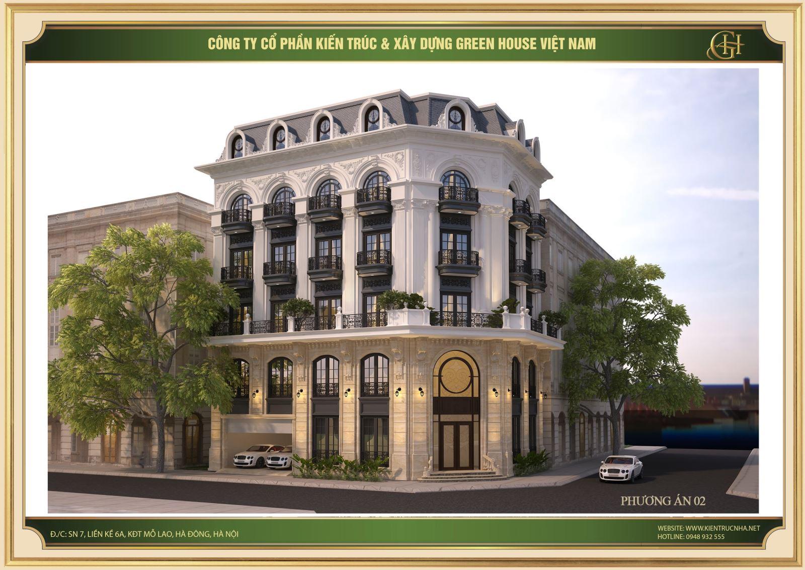 Phương án thiết kế 2 cho mẫu biệt thự tân cổ điển 5 tầng tại Bắc Ninh