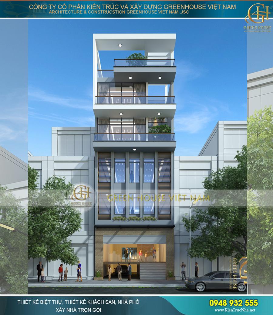 Phối cảnh ngoại thất nhà phố 5 tầng kết hợp cho thuê văn phòng