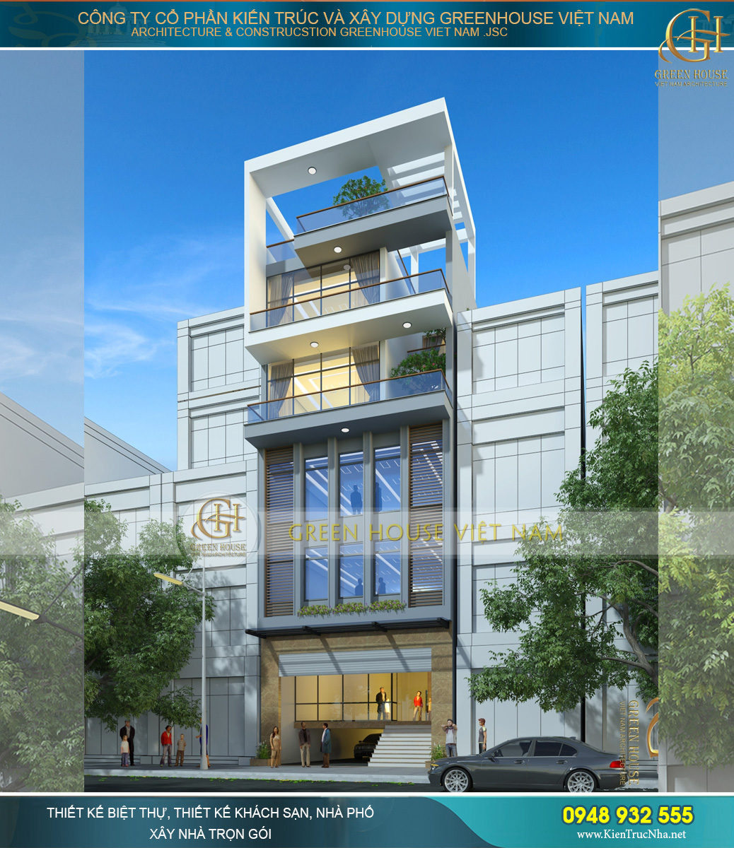 Thiết kế ngoại thất nhà phố 5 tầng cũng cho thấy rõ sự phân chia các không gian cho thuê văn phòng và sinh hoạt riêng của gia đình