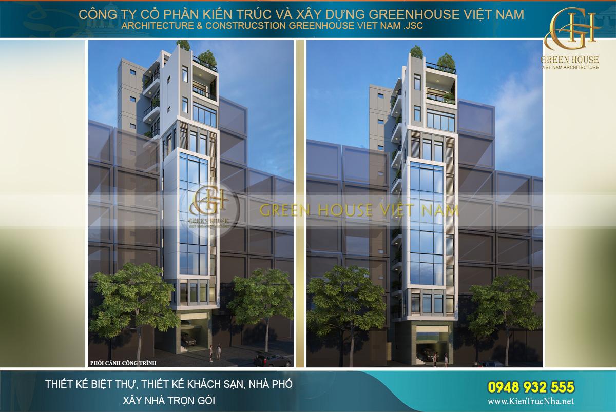 Phối cảnh mặt tiền đẹp sang trọng, ấn tượng của nhà phố kết hợp kinh doanh 9 tầng tại Hà Nội