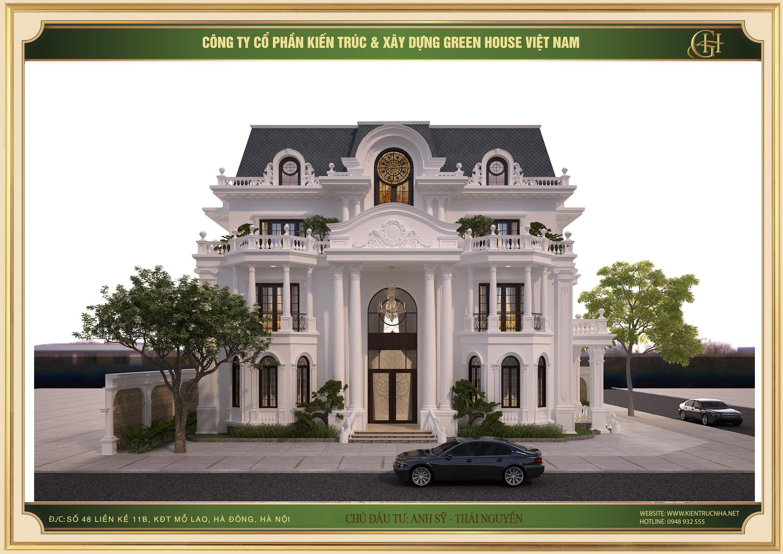 Biệt thự 3 tầng được thiết kế hệ mái Mansard với gam màu xanh xám thanh nhã, quý phái nổi bật