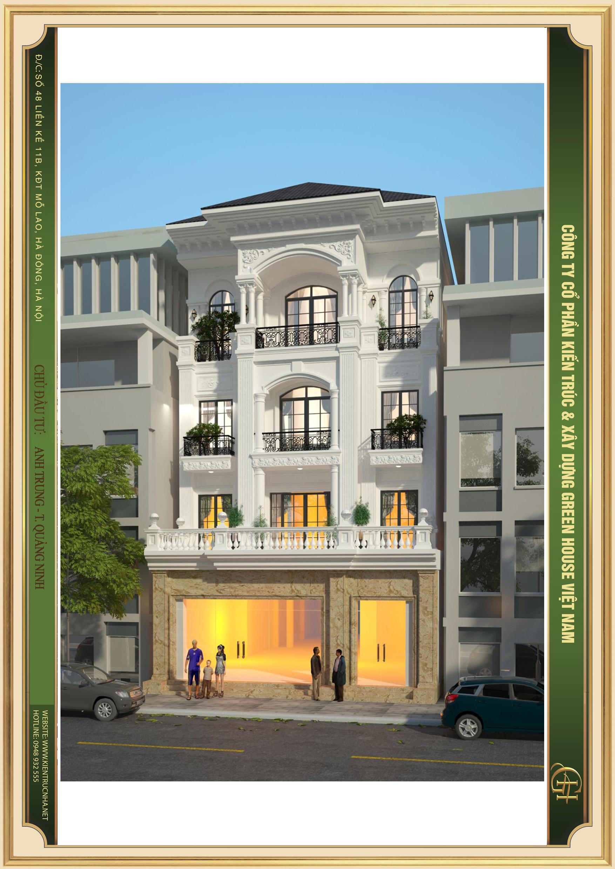 Thiết kế ngoại thất tầng 1 được ốp đá Granite tự nhiên nguyên khối màu vàng hoàng kim nổi bật