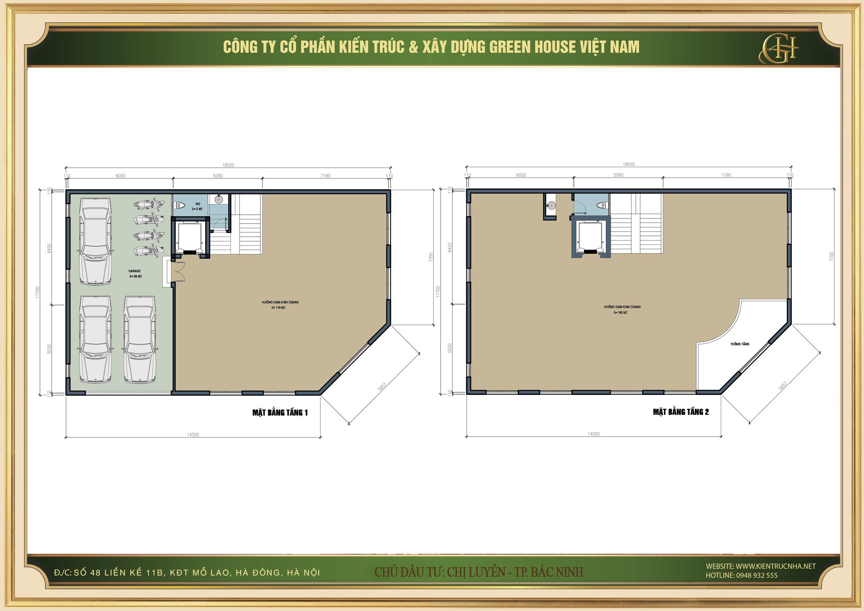 Thiết kế mặt bằng tầng 1 và tầng 2 biệt thự tân cổ điển để làm kinh doanh