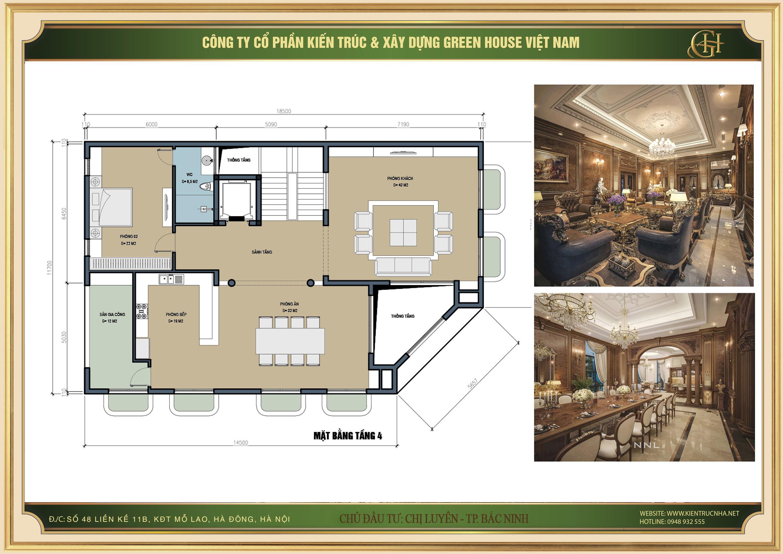 Thiết kế mặt bằng tầng 4 bao gồm không gian sinh hoạt như phòng khách phòng bếp và phòng ăn