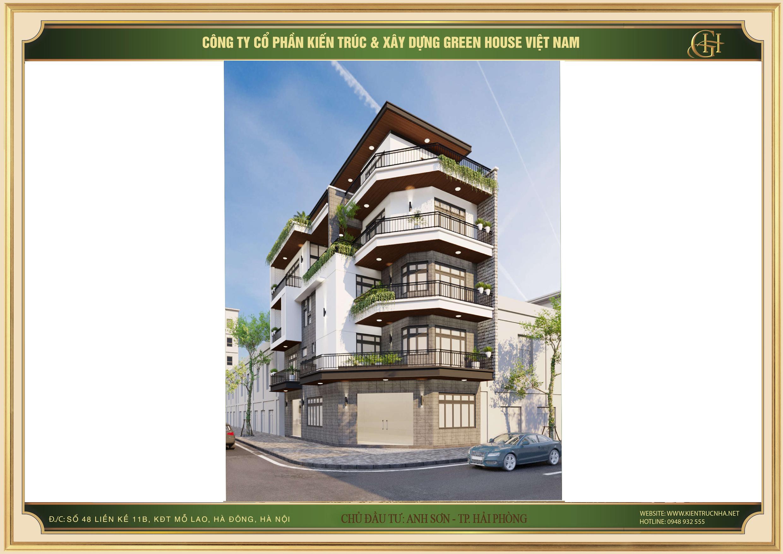 Từ tầng 2 được xây dựng sâu vào phía bên trong để chừa lại một khoảng không rộng, làm thành ban công trồng cây xanh kéo dài ôm trọn cả hai mặt tiền