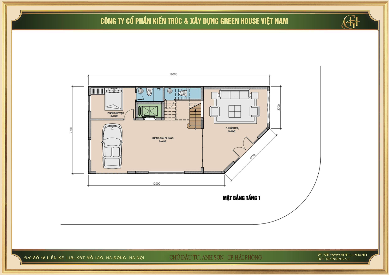 Thiết kế công năng sử dụng của tầng 1 cho nhà để xe, phòng khách phụ