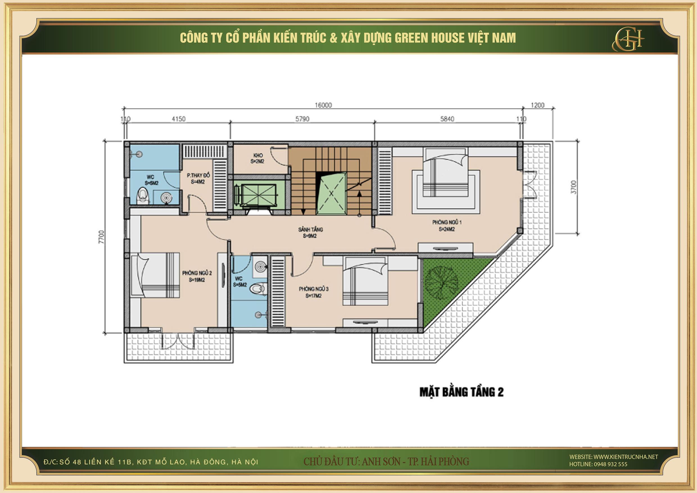 Tầng 2 cũng được thiết kế khá giống tầng 3 với không gian phòng ngủ riêng cho từng thành viên
