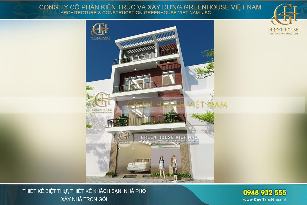 Đường nét thiết kế kiến trúc vuông vắn, thể hiện hoàn chỉnh phong cách kiến trúc hiện đại của ngôi nhà phố