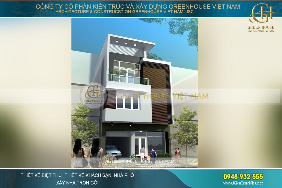 Phối cảnh kiến trúc cơ bản của ngôi nhà phố có thiết kế 3 tầng lầu của chủ đầu tư tại Hải Phòng