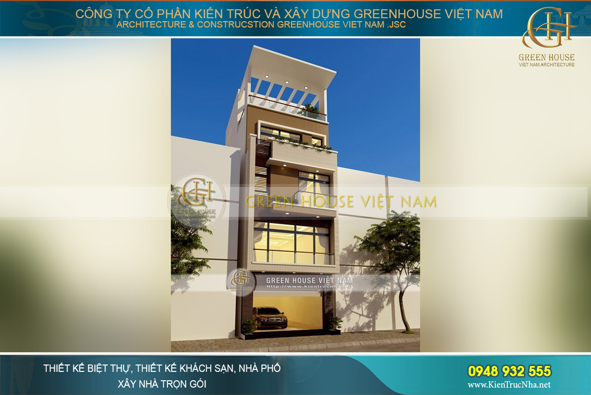 Kiến trúc mặt tiền khang trang và độc đáo của ngôi nhà ống 4 tầng rưỡi tại Nam Định