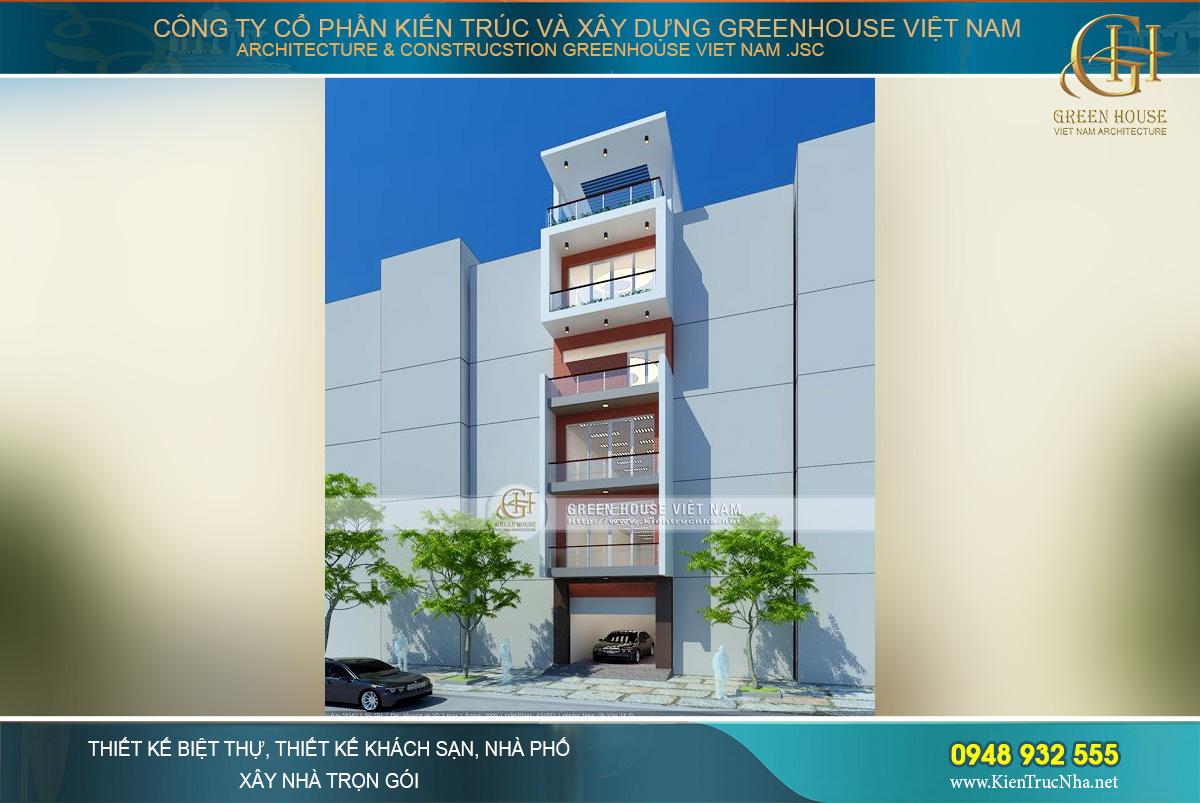 Phối cảnh mặt tiền của thiết kế nhà ống 6 tầng kết hợp kinh doanh tại Hà Nội
