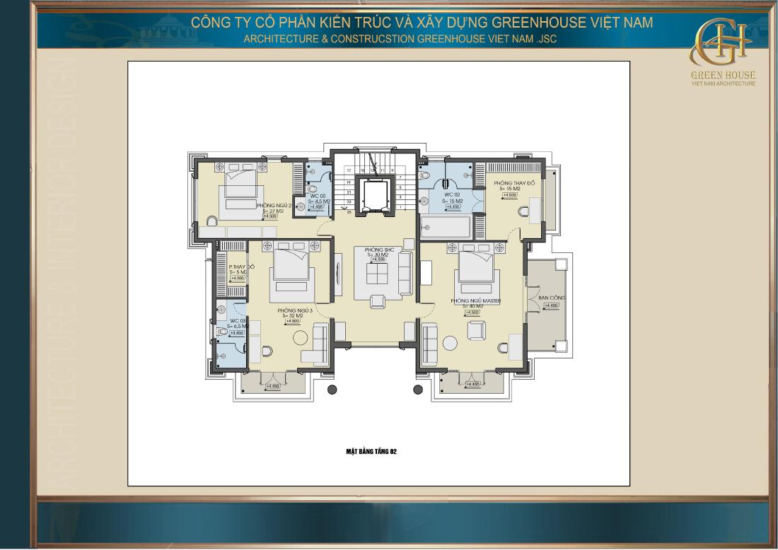 Bố trí công năng sử dụng tầng 2 của biệt thự tân cổ điển 4 tầng