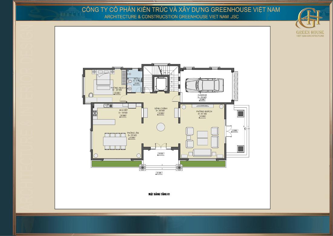 Bố trí công năng sử dụng tầng 1 của biệt thự tân cổ điển 4 tầng