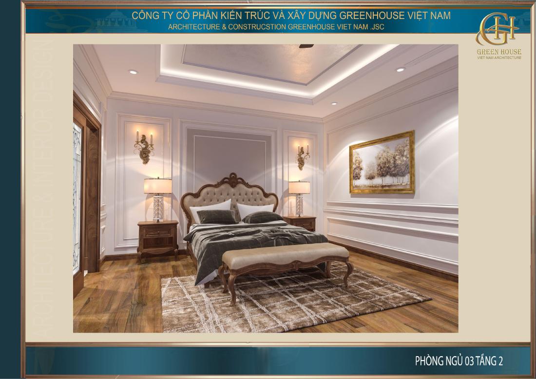 Phòng ngủ đầu tiên trên tầng 2 mang phong cách thanh lịch, nhẹ nhàng và đơn giản