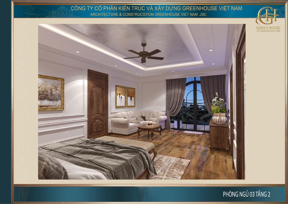 Toàn cảnh không gian phòng ngủ tại tầng 2