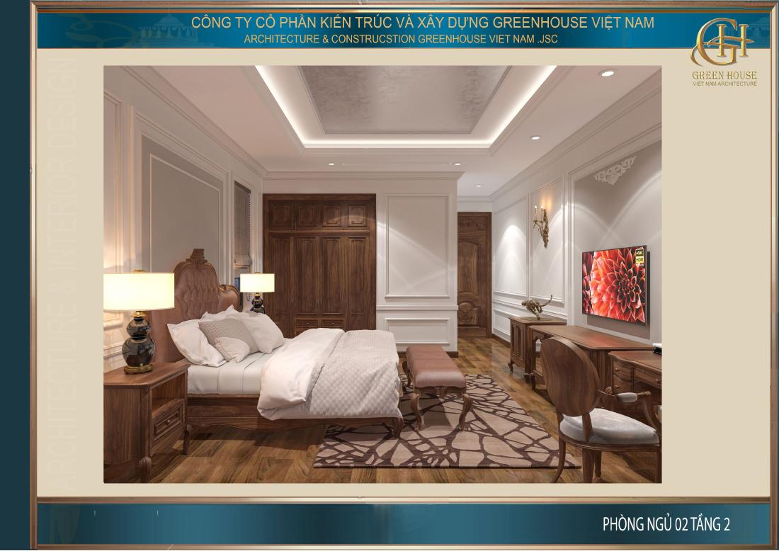Thiết kế phòng ngủ số 2 tại tầng 2 của biệt thự