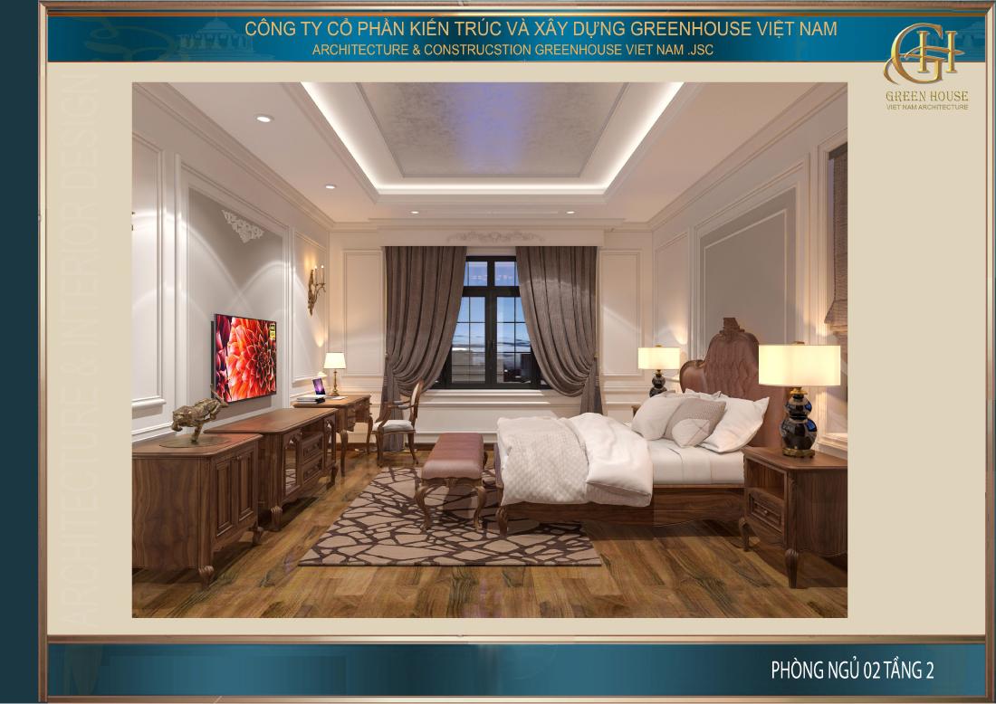 Toàn cảnh không gian phòng ngủ số 2 tại tầng 2