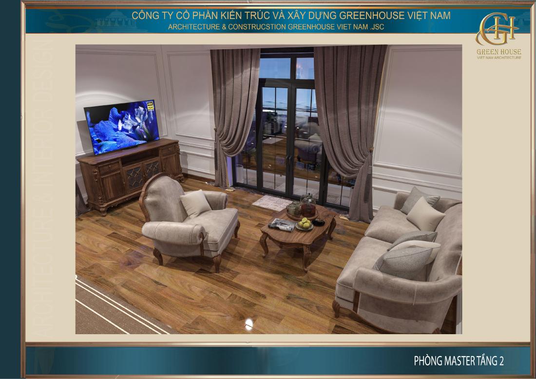 Bộ sofa nhỏ tại phòng ngủ để gia chủ có thể nghỉ ngơi hoặc thư giãn