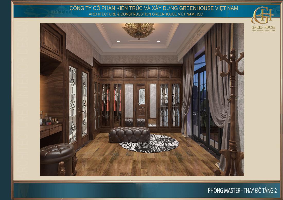 Phòng thời trang của phòng ngủ master mang đến vẻ đẹp quý tộc