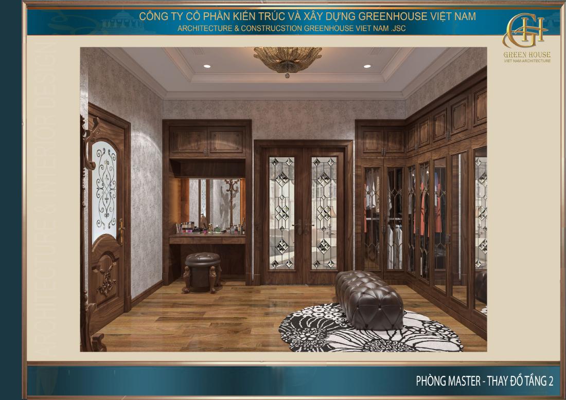 Thiết kế gỗ đồng bộ của bàn trang điểm và các tủ đồ giúp không gian phòng mang vẻ đẹp xứng tầm với phòng ngủ master đẳng cấp