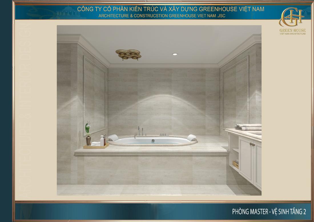 Không gian bồn tắm cao cấp giúp gia chủ có thể thư giãn