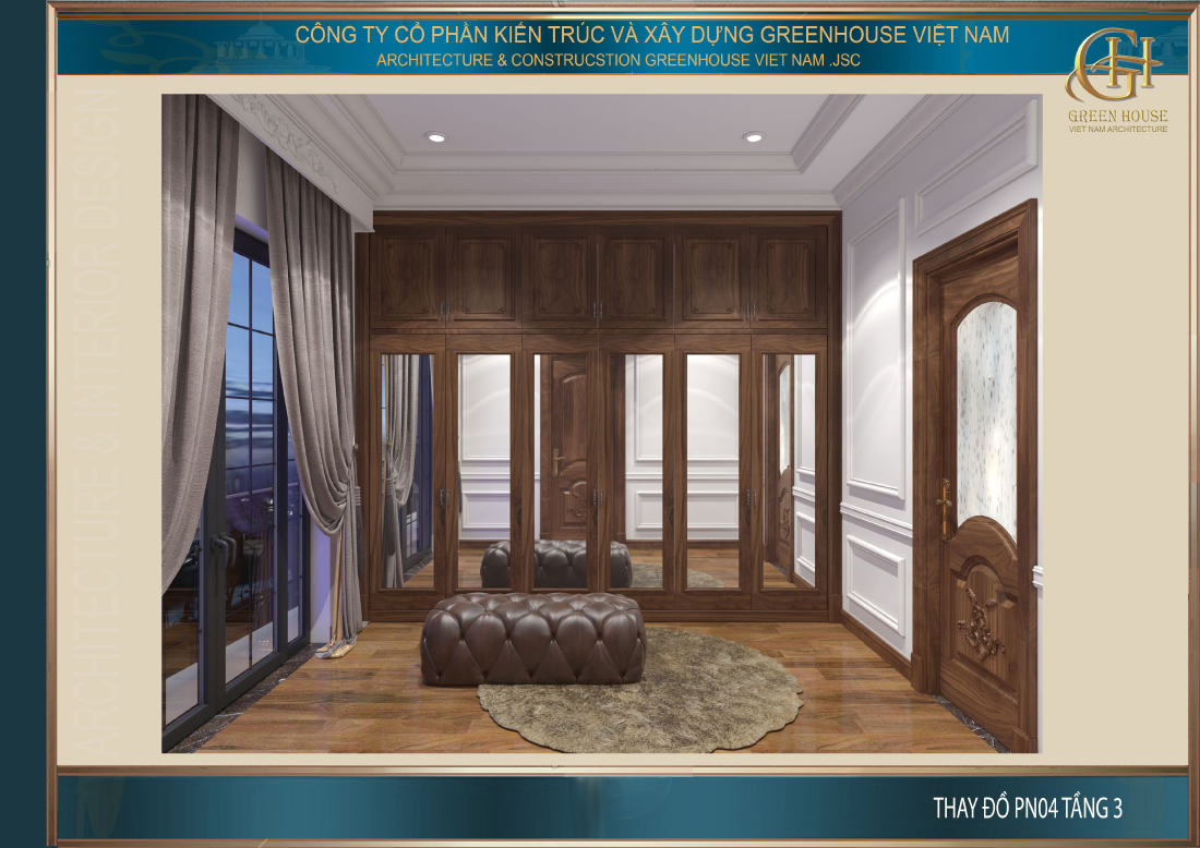 Phòng thay đồ của phòng ngủ tầng 3 được thiết kế tương đồ với tầng 2