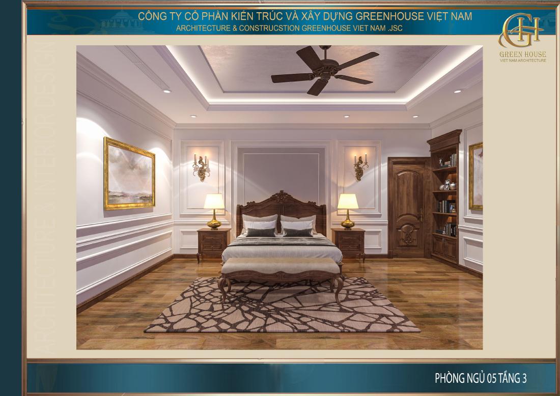 Thiết kế nội thất phòng ngủ số 5 của biệt thự tân cổ điển tại Thái Nguyên