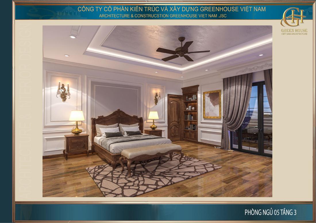 Phòng ngủ cũng được bố trí cửa sổ lớn để mang đến nguồn ánh sáng tự nhiên cho căn phòng