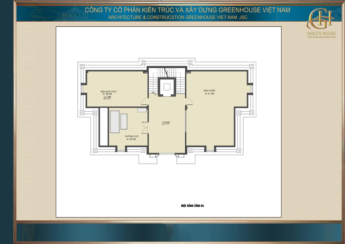Bố trí công năng sử dụng tầng 4 của biệt thự tân cổ điển 4 tầng