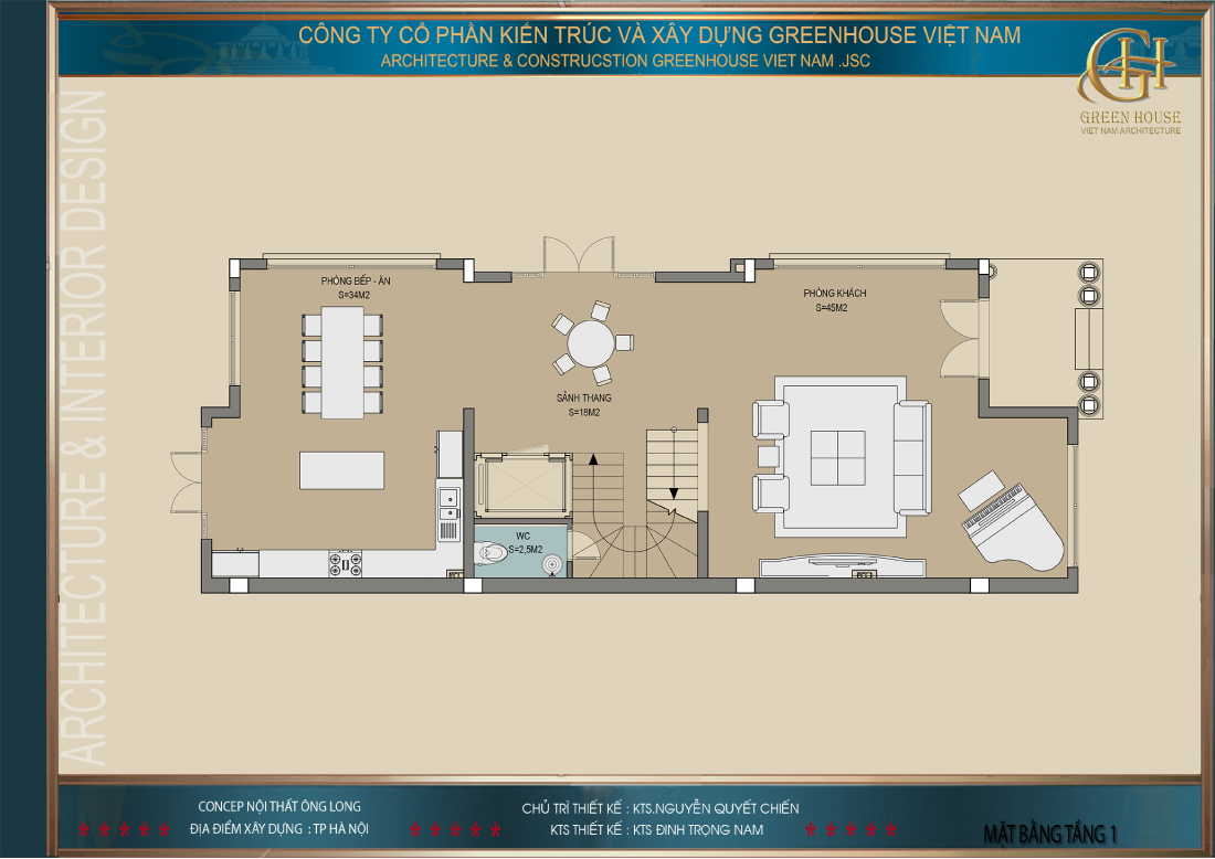 Thiết kế mặt bằng công năng sử dụng tầng 1 của biệt thự Vinhomes tại Hà Nội