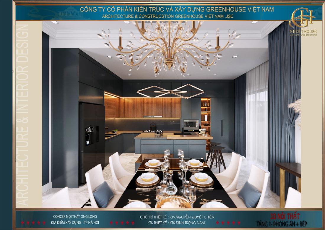 Thiết kế nội thất phòng bếp và phòng ăn với tone màu đồng bộ xám đậm