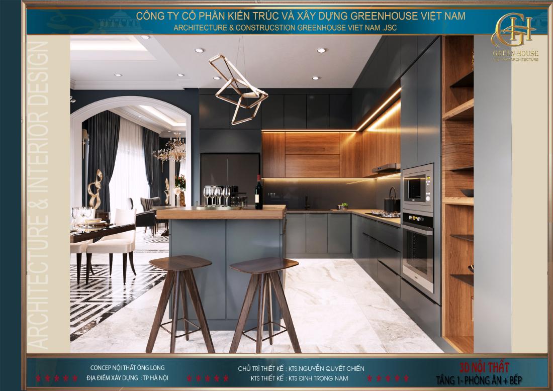 Hệ thống tủ bếp với thiết kế hình chữ L gọn gàng và đầy tính thẩm mỹ