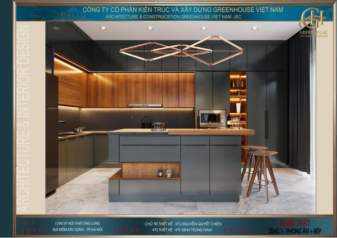 Tủ bếp được thiết kế với hình chữ L gọn gàng, khoa học