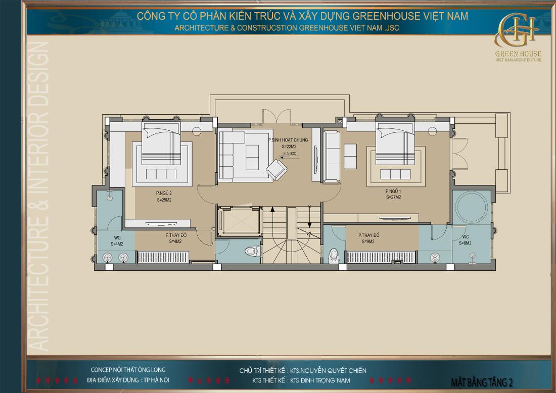 Thiết kế mặt bằng công năng sử dụng tầng 2 của biệt thự Vinhomes tại Hà Nội