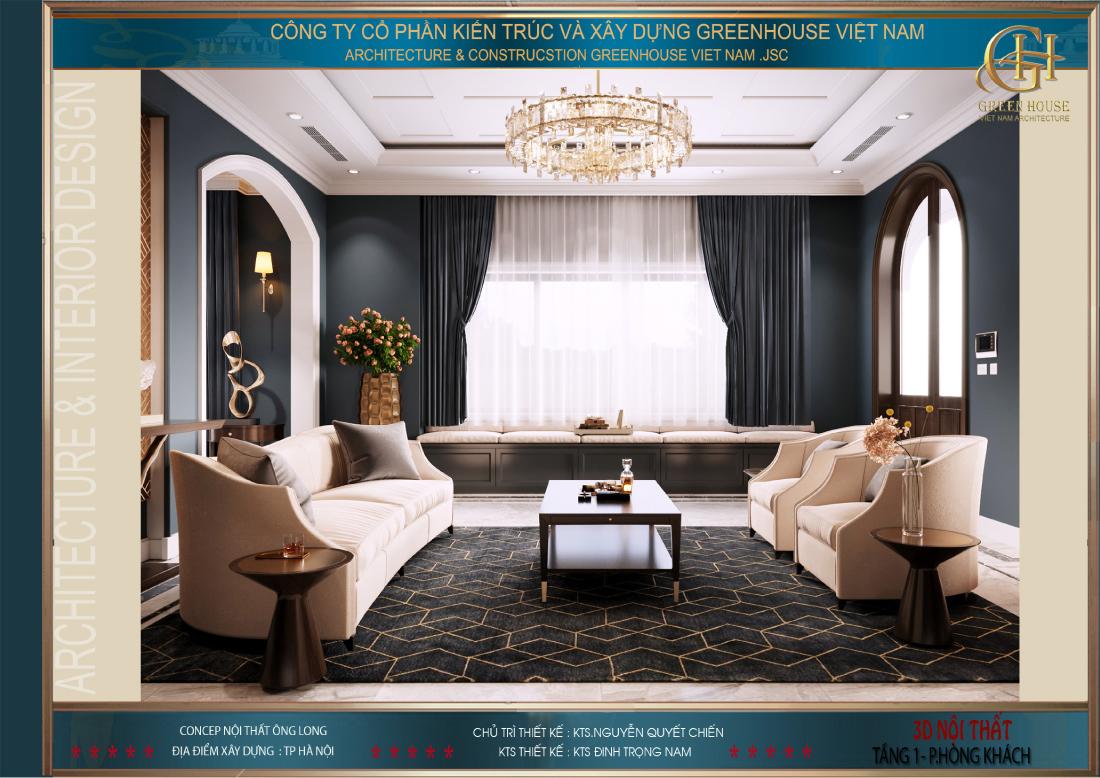 Các KTS đã khéo léo lựa chọn bộ sofa màu trắng để cân bằng lại màu sắc cho phòng khách
