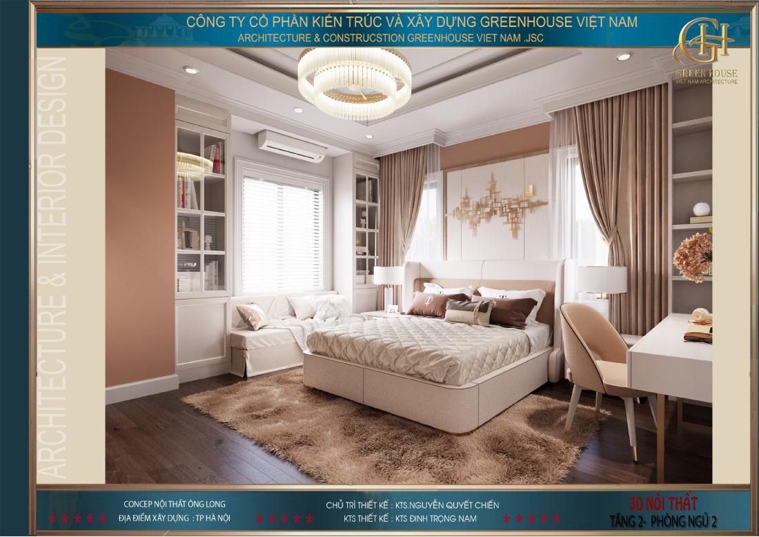 Căn phòng ngủ cao cấp như phòng khách sạn 5 sao thể hiện rõ gu thẩm mỹ của chủ nhân