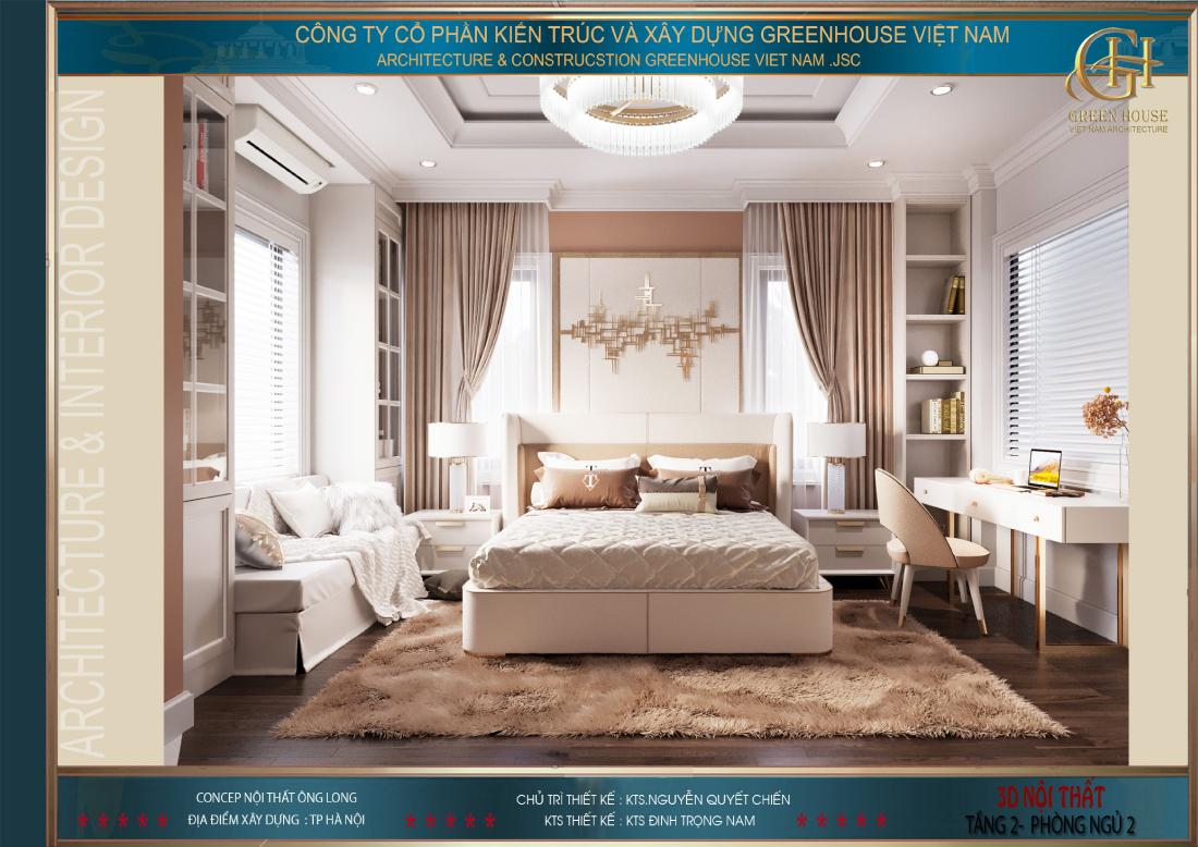 Không gian phòng ngủ không quá rộng lớn nhưng lại được thiết kế vô cùng thoáng đãng và sang trọng
