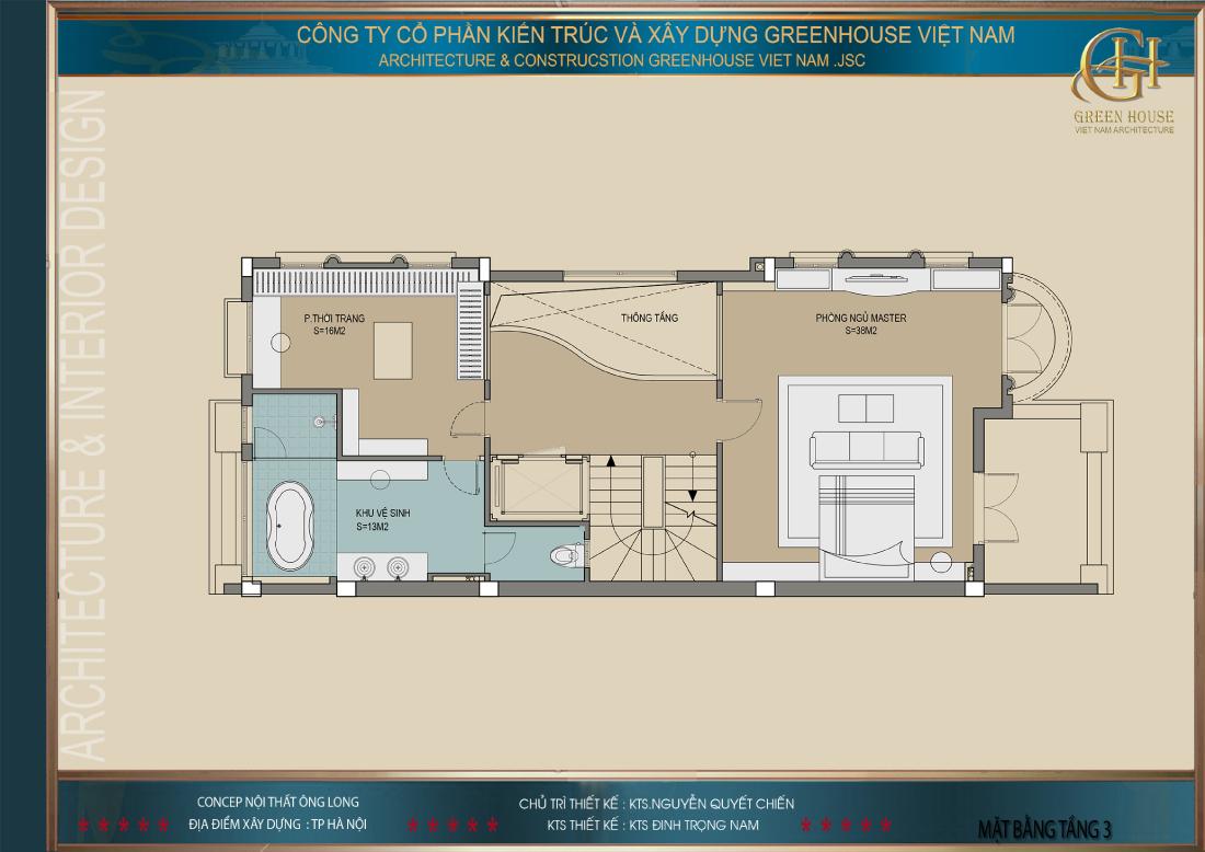 Thiết kế mặt bằng công năng sử dụng tầng 3 của biệt thự Vinhomes tại Hà Nội