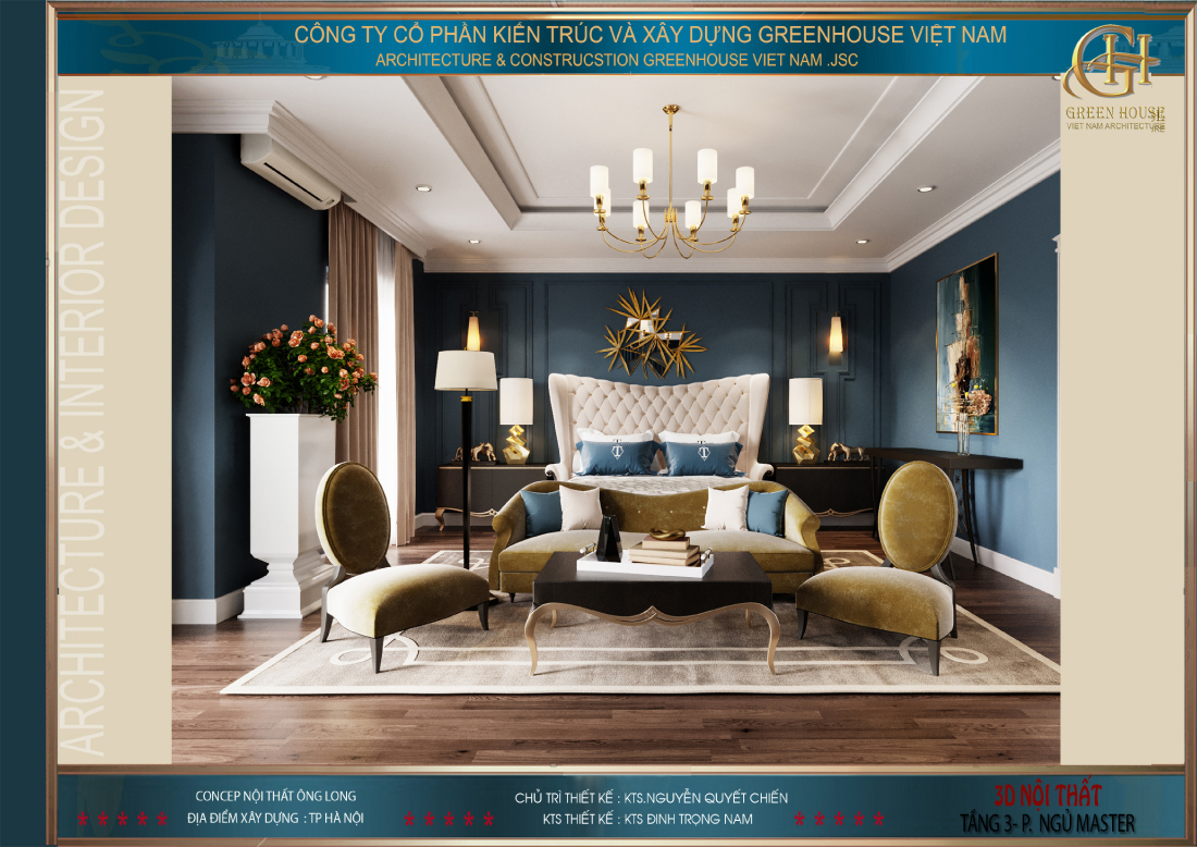 Thiết kế phòng ngủ master với phong cách tinh tế, đẳng cấp