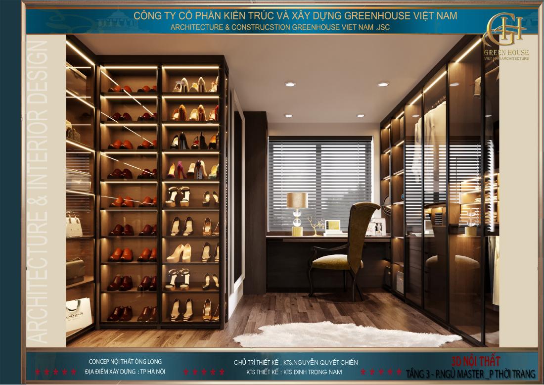 Thiết kế phòng thời trang cho phong ngủ master
