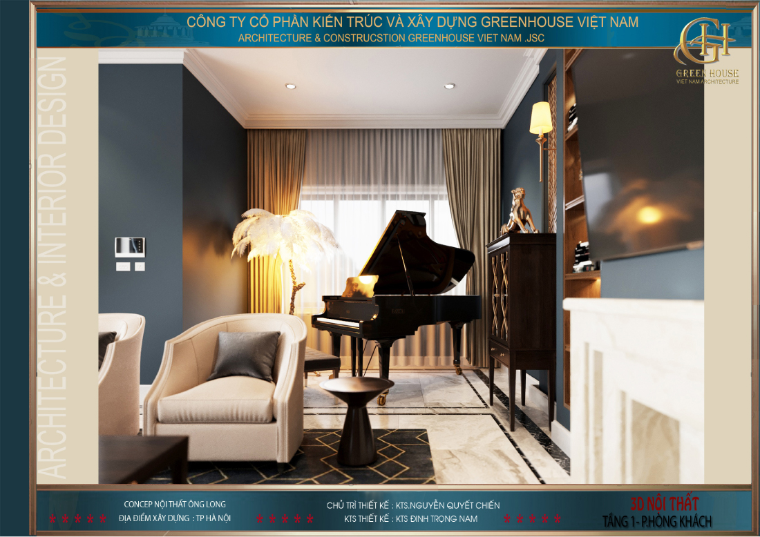Phòng khách còn được bố trí khu vực chơi đàn, phục vụ những buổi khiêu vũ hay thưởng nhạc của gia chủ
