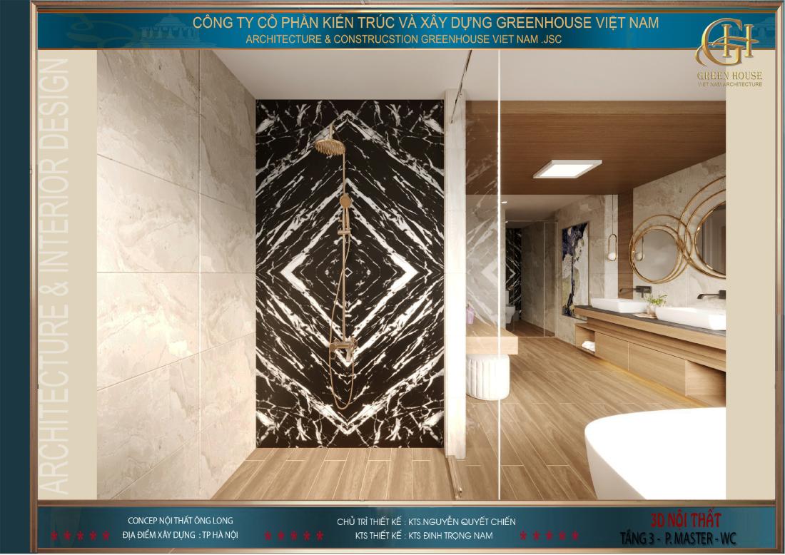 Khu vực tắm hoa sen, khu vực vệ sinh được ngăn cách bởi tường kính