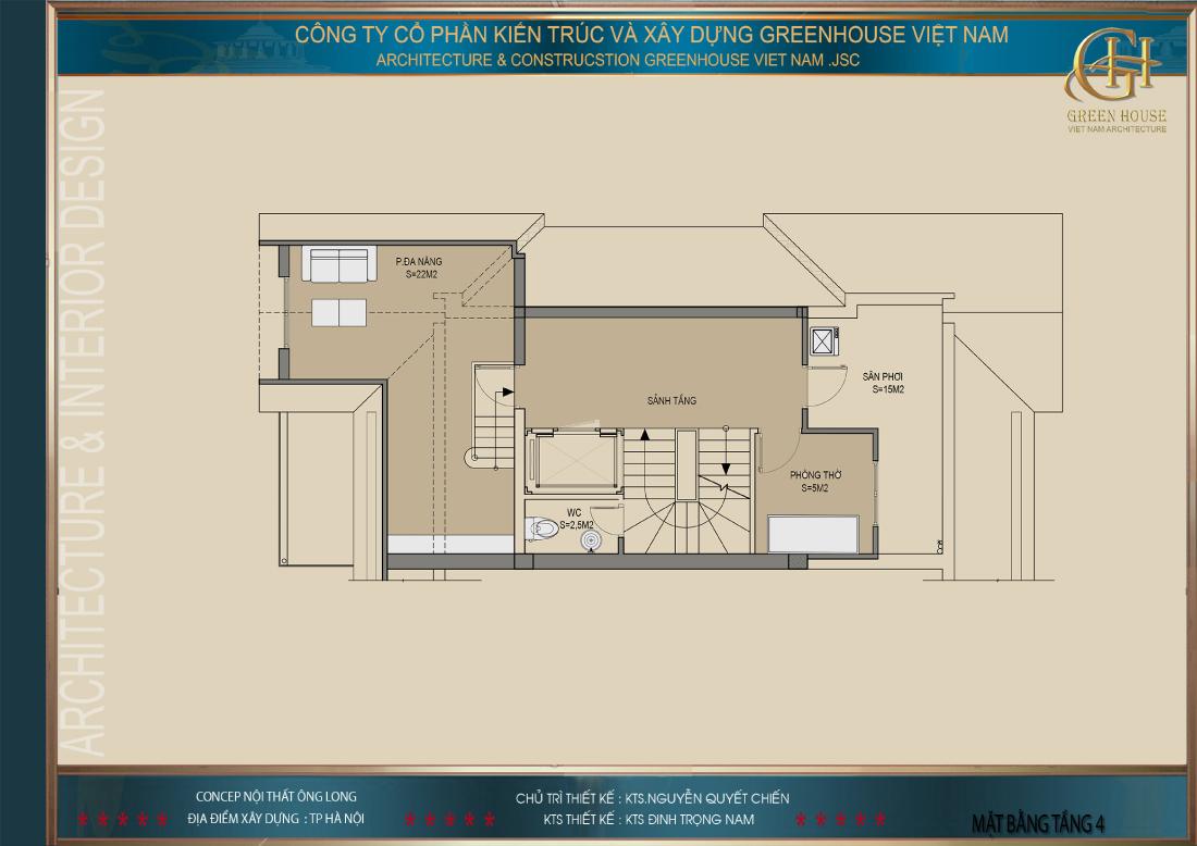 Thiết kế mặt bằng công năng sử dụng tầng 4 của biệt thự Vinhomes tại Hà Nội