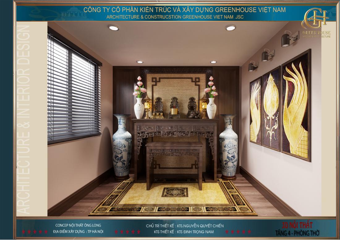 Thiết kế nội thất phòng thờ của biệt thự Vinhomes